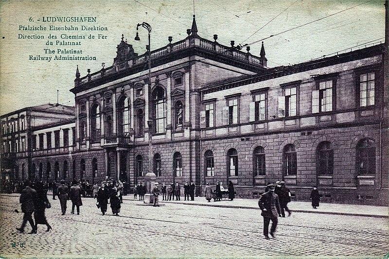 Gebäude der Direktion der pfälzischen Eisenbahnen in Ludwigshafen, um 1905
