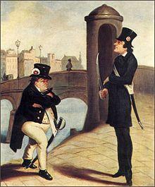 Wenzel Scholz und Johann Nestroy als Nationalgardisten auf der Ferdinandsbrücke während der März-Revolution von 1848 (Quelle: Wikimedia)