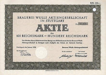 Aktie über 100 RM Der Brauerei Wulle AG Vom Januar 1930