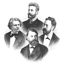 Das Joachim-Quartett im Jahr 1884. Oben: Robert Hausmann, darunter de Ahna und Wirth, unten Joachim (Quelle: Wikimedia)