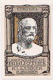 Euripides auf einer Sammelmarke für Langenscheidts Bibliothek der Klassiker (Quelle: Wikimedia)