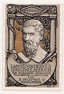 Herodot auf einer Sammelmarke für Langenscheidts Quellenlesebuch (Quelle: Wikimedia)