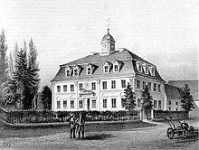 Herrenhaus des Ritterguts Lützschena, um 1860 (Quelle: Wikimedia)