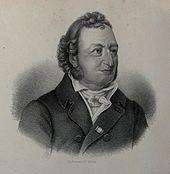Knud Lyne Rahbek, Lithographie nach einer Zeichnung von H. C. Andersen (Quelle: Wikimedia)