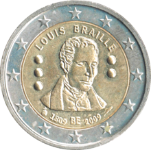 "Like all 2 euro coins, the coin is two-colored.  The approximately three millimeter wide rim is made of silver-colored metal with twelve embossed stars, the area in the middle is brass-colored.  It shows a portrait of Braille with closed eyes as a bas-relief.  Above in the arch is ""LOUIS BRAILLE"", underneath ""1809 BE 2009"".  To the left and right of the portrait are three or two braille dots in the form of small hemispheres, one above the other."