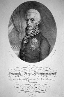 Ferdinand Fürst zu Trauttmansdorff, Lithographie von Friedrich Lieder, s.a. (Quelle: Wikimedia)
