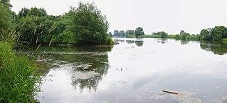 Weser upstream with Fluthamel (left) in the south of Hameln