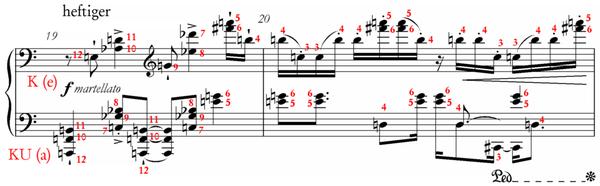 Schönberg, op.33a, bars 19 to 20 with series analysis