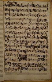 Notenfund (Autograph) Kantate Wie schrecklich Herr sind deine Gerichte, Sächsische Akademie der Wissenschaften (Quelle: Wikimedia)
