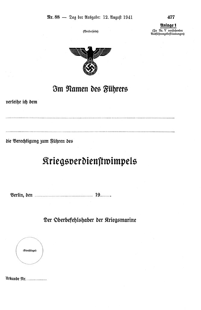 Datei:Verleihungsurkunde Kriegsverdienstwimpel.jpg – Wikipedia