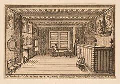 Ein Raum von Callot in seinem Haus in Nancy: Radierung von seinem Schüler François Collignon aus dem Jahre 1630 (Quelle: Wikimedia)