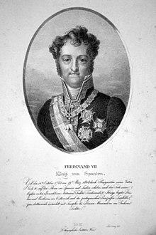 Ferdinand VII. von Spanien, Lithographie von Josef Lanzedelli d.Ä., um 1825 (Quelle: Wikimedia)