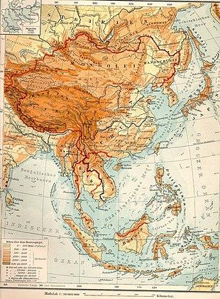 Topografische Karte von Ostasien aus dem Jahr 1903