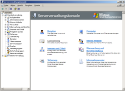 Screenshot von Windows Small Business Server 2003 R2 Serververwaltungskonsole