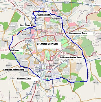 Karte Braunschweigs mit dem Verlauf der Landwehr.