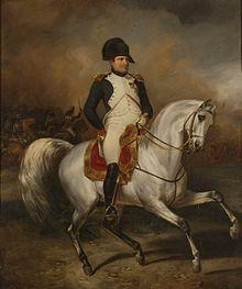 Napoleon zu Pferde(Simon Meister, 1832, Öl auf Leinwand, Städtisches Museum Simeonstift Trier) (Quelle: Wikimedia)