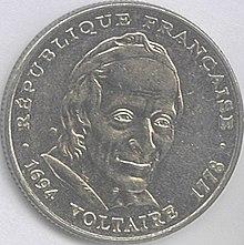 Französische 5-Francs-Münze (1994) zum 300. Geburtstag Voltaires (Quelle: Wikimedia)