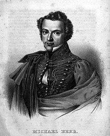 Michael Beer, Lithographie nach Zeichnung von Carl Vogel, vor 1838 (Quelle: Wikimedia)