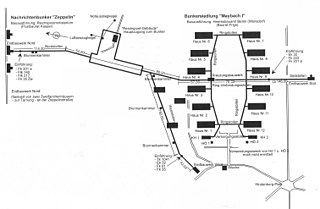Plan showing the Zeppelin communications bunker and the Maybach I complex at Wunsdorf-Zossen