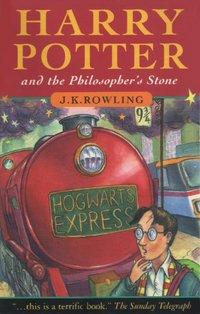 Εξώφυλλο της αγγλικής έκδοσης του μυθιστορήματος της σειράς, Ο Χάρι Πότερ και η Φιλοσοφική Λίθος.