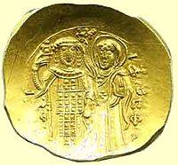 Ο Ιωάννης Βατάτζης στέφεται από την Παναγία σε υπέρπυρον (χρυσό νόμισμα)