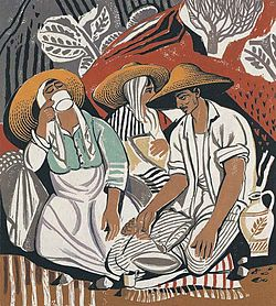 Τάσσος (Αλεβίζος), Μεσημέρι (1958). Έγχρωμη ξυλογραφία, 41 εκ. x 37 εκ. Συλλογή Τράπεζας Άλφα.