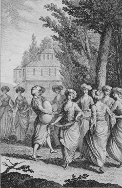 """Ελληνικός χορός, χαλκογραφία του Pierre Augustin Guys από το βιβλίο """"Voyage litteraire de la Grece..."""", Παρίσι 1783"""