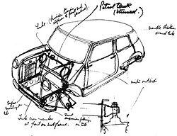 Σκίτσο από τον Α. Ισσιγόνη, για το BMC Mini (1958). Φωτογραφία: © British Motor Industry Heritage Trust, Design Museum