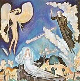 Κ. Παρθένης, Αποθέωση του Αθανασίου Διάκου(1931). Ελαιογραφία, 118 εκ. x 117 εκ. Συλλογή Ιδρύματος Σπ. Λοβέρδου.