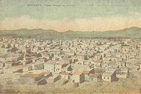 Άποψη του Πειραιά από το λόφο του Προφήτη Ηλία σε επιστολικό δελτάριο των αρχών του 20ου αι.