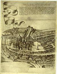Άποψη της πόλης του Βατικανού στα 1593 από χάρτη του Antonio Tempesta