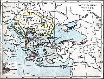 Το Δεσποτάτο του Μυστρά στην μεγαλύτερη επέκτασή του, όταν περιέλαβε εδάφη εκτός Πελοποννήσου. Southeast Europe in 1444. Atlas To Freeman's Historical Geography, Edited by J.B. Bury, Longmans Green and Co. Third Edition 1903