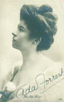 A black-and-white bust portrait (c. 1910) of Ada Forrest in profile. She wears a gown, and she is wearing her brown hair up. Her autograph is on the lower-right corner of the photo, written in a very clear, round hand.