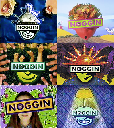 Noggin's logo spots used a wide range of styles, including live-action, stop motion, puppetry, and traditional animation.