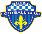 "A blue striped and checkered shield is adorned with the words ""OSA"" across the top and ""FOOTBALL CLUB"" across the middle. And below is a yellow Fleur-de-lis."