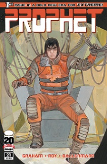 Prophet #21 cover by Marian Churchland. The aesthetic of the series changed dramatically with this issue, along with the tone of the writing and larger design of the comic.