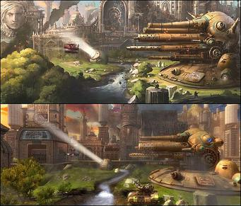 "Sina_Mora_concept_vs_reality Sine Mora, game para Android e iOS, vai arrancar suspiros dos fãs de ""Shoot 'em Up"""