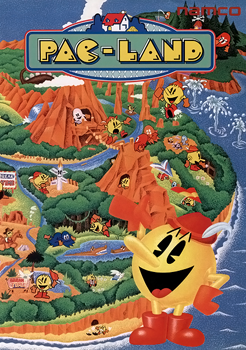 Japanese arcade flyer of Pac-Land.