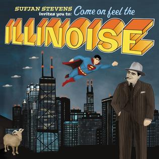 "A painting of several of the lyrical elements from Illinois: UFOs and Superman fly over the Chicago skyline, with a goat standing in the bottom left corner and a gangster in a pinstripe suit standing on the right. Above this, text reads ""SUFJAN STEVENS invites you to: Come on feel the ILLINOISE"" in a variety of scripts and colors."