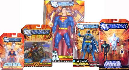 DC Universe sublines Infinite Heroes (Superman pictured), Fighting Figures (The Joker vs. Batgirl pictured), Giants of Justice (Superman pictured), Classics (Crime-Stopper Batman pictured), and Justice League Unlimited (John Stewart-Captain Atom-Supergirl 3-pack pictured)