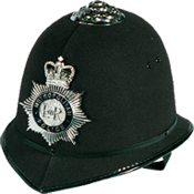 Custodian helmet high helmet worn by police in England, Wales, and other places