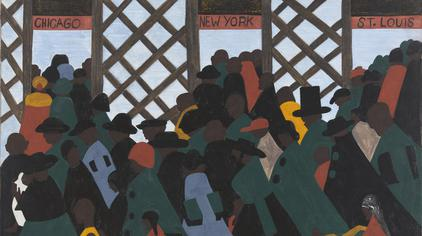 Panel No. 1 in Jacob Lawrence's Great Migration Series, 1941. (Wikimedia Commons)
