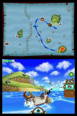 Two square screens, one below the other. Above is a map, with a blue line drawn to indicate the path of the ship. Below, the game is seen through a third-person perspective, with the ship in the center, sailing on the ocean.