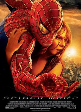 Against a New York City background, Spider-Man hugs Mary Jane Watson, with a reflection of Doctor Octopus in Spider-Man's eye as Spider-Man shoots a web.