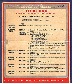WNBT (later WNBC) schedule for first week of commercial TV programming in the United States, July 1941 WNBT first TV schedule.jpg