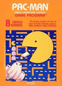 "Artwork of an orange, vertical rectangular box. The top third reads ""Pac-Man Video Computer System Game Program"". Below that reads ""8 Video Games"" and ""The home version of one of your favorite Arcade games. One Player • Two Players"". The lower two-thirds depicts a yellow circular character with his mouth open, eating a white wafer against the backdrop of a blue maze with orange walls. In the lower left corner of the maze are three pink ghosts, each with two white eyes."