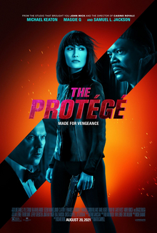 """""""Theatrical release poster"""": A diagonal line features the faces of two men. In the middle of the poster itself is a woman, holding a gun. In front of her are the words """"The Protégé"""" and the tagline """"Made for vengeance""""."""