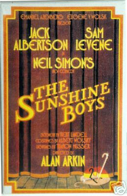 Window card poster 1972 original Broadway production Neil Simon's The Sunshine Boys starring Jack Albertson and Sam Levene