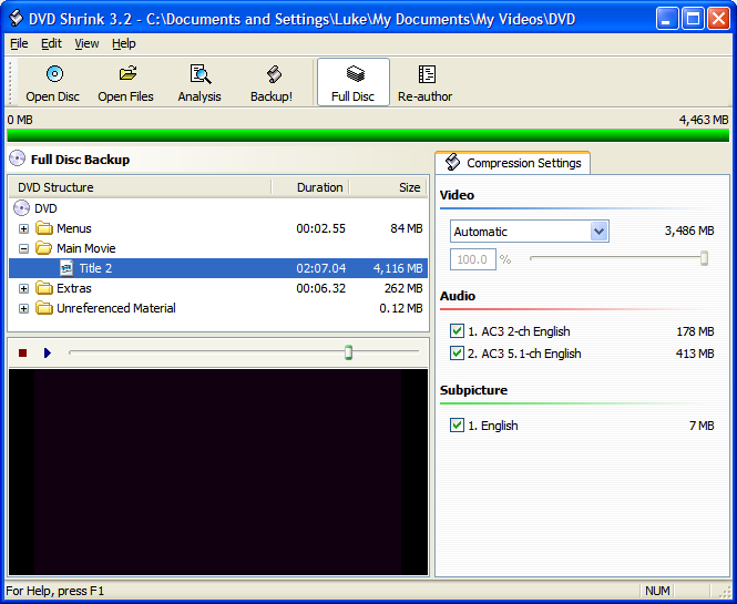 DVD Shrink 3.2015 screenshot